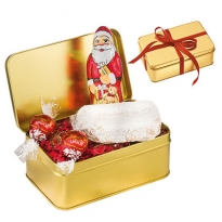 Feinschmecker-Christstollen in goldener Metallbox